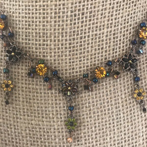 Jewelry - Rose Gold Blue and Yellow Rhinestone Necklace